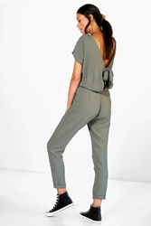 Boohoo Capped Sleeve Relaxed Fit Tie Back Jumpsuit Khaki