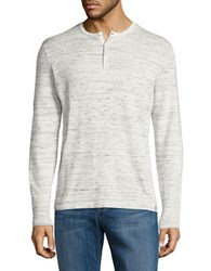 Calvin Klein Cotton Blend Long Sleeve Henley Tee Frost White