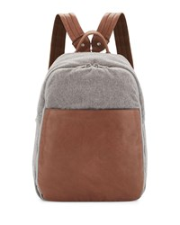 Brunello Cucinelli Leather And Wool Cashmere Tech Backpack Tan Gray Tan Grey