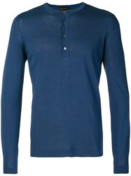 Dell'oglio Knitted Henley Top Blue