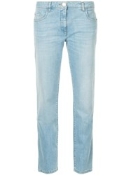 Boutique Moschino Straight Leg Jeans Cotton Other Fibers Blue