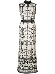 Marchesa Notte Embroidered Dress White