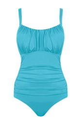 Seaspray Just Colour Ruched Strap Swimsuit Aqua Blue