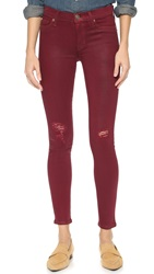 Hudson Nico Mid Rise Super Skinny Jeans Crimson Wax Destructed