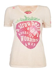 Oui Strawberry T Short Off White