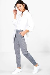 Boohoo Pinstripe Woven Relaxed Trousers Grey
