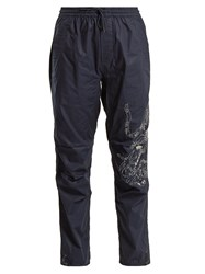 Mhi Tiger Embroidery Cotton Trousers Navy
