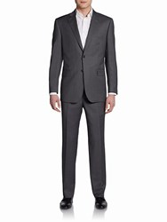 Saks Fifth Avenue Black Classic Fit Striped Two Button Wool And Silk Suit Grey