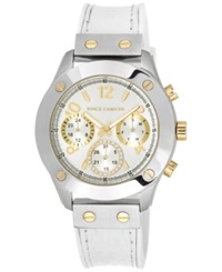 Vince Camuto Women's White Silicone And Croco Grain Leather Strap Watch 42Mm Vc 5235Svwt