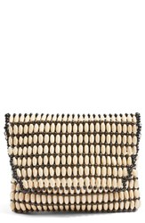 Topshop Wooden Beaded Crossbody Bag Beige Nude Multi