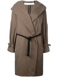 Isabel Benenato Belted Hooded Coat Green