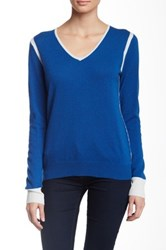 Cullen Elbow Patch V Neck Cashmere Sweater Multi