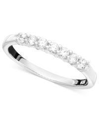 Macy's Seven Diamond Anniversary Band Ring In 14K White Gold 1 4 Ct. T.W.