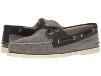 Sperry A O 2 Eye Linen Black Men's Moccasin Shoes