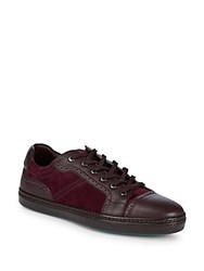 Brioni Classic Leather Low Top Sneakers Beetroot