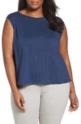 Eileen Fisher Plus Size Women's Organic Linen Jersey Shell Denim