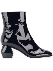 Emporio Armani Geometric Heel Ankle Boots Blue