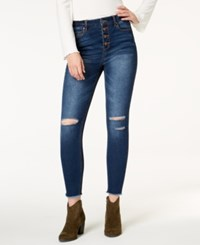 Tinseltown Juniors' Ripped Button Fly Skinny Jeans Dark Wash