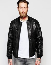 Nudie Jeans Brook Leather Bomber Jacket Black
