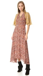 Derek Lam Maxi Dress With Flutter Sleeves Pumice Multi