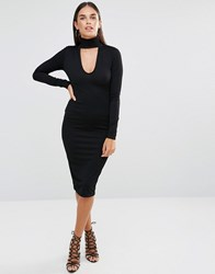 Club L Choker High Neck Crepe Detail Midi Dress Black