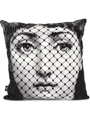 Fornasetti Burlesque Print Pillow Black