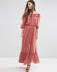 Asos Off Shoulder Maxi Dress With Frill Tiers Pink Multi