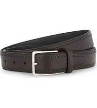 Canali Perforated Leather Belt Burgundy