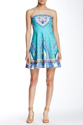 Flying Tomato Printed Strapless Bandeau Dress Blue