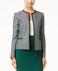 Tahari By Arthur S. Levine Asl Textured Tweed Blazer Green White
