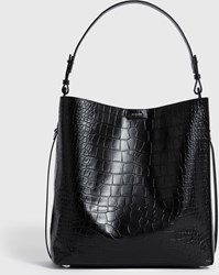 Allsaints Polly North South Leather Tote Bag Black