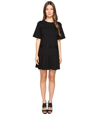 Red Valentino Ponte Jersey And Lace Ribbons Dress Nero