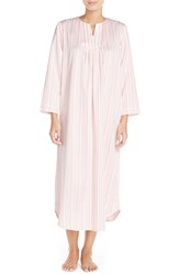 Carole Hochman Satin Long Nightgown Petite Stripe Ivory Pink Lemonade