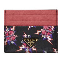 Prada Pink And Black Heart Printed Card Holder