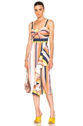 Tanya Taylor Claire Dress In Blue Orange Pink Stripes White Yellow Blue Orange Pink Stripes White Yellow