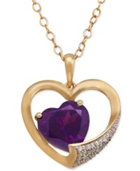 Macy's Amethyst 3 Ct. T.W. Heart And Diamond Accent Pendant Necklace In 14K Gold