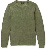 A.P.C. Anton Slim Fit Ribbed Cotton Sweater Army Green