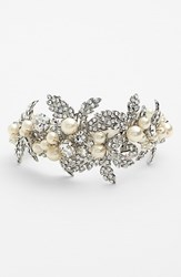 Women's Nina 'Hallie' Faux Pearl And Crystal Bracelet Ivory Pearl Clear Silver