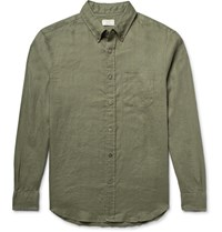Club Monaco Slim Fit Button Down Collar Linen Shirt Army Green
