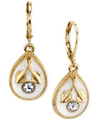 2028 Gold Tone Crystal And White Enamel Drop Earrings A Macy's Exclusive Style