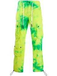 Palm Angels Tie Dye Army Trousers Green