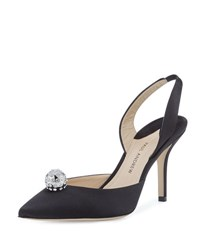 Paul Andrew Satin Ornament Slingback Pump Black