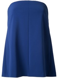 H Beauty And Youth Strapless Flared Blouse Blue