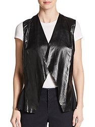 Lafayette 148 New York Leather And Silk Vest Black