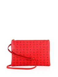 Mcm Coated Canvas Crossbody Bag Ruby Red Black