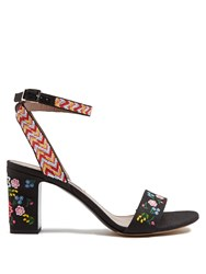 Tabitha Simmons Leticia Embroidered Linen Sandals Black Multi