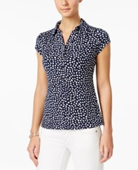 Charter Club Geo Print Polo Top Only At Macy's Intrepid Blue Combo