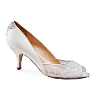 Benjamin Adams Caity Mid Heel Peep Toe Shoes Ivory
