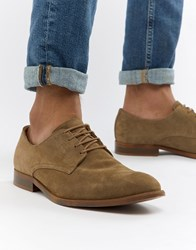 Asos Design Lace Up Shoes In Taupe Suede With Natural Sole Stone