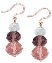 Charter Club Triple Stone Drop Earrings Only At Macy's Rose Gold